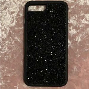 black iphone 8 plus phone case with black jems!